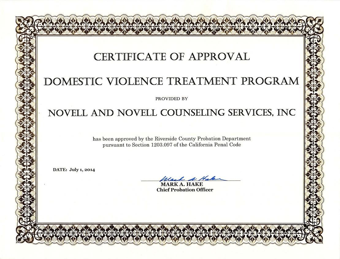 Domestic Violence Certificate – Copy :: Novell & Novell Counseling ...